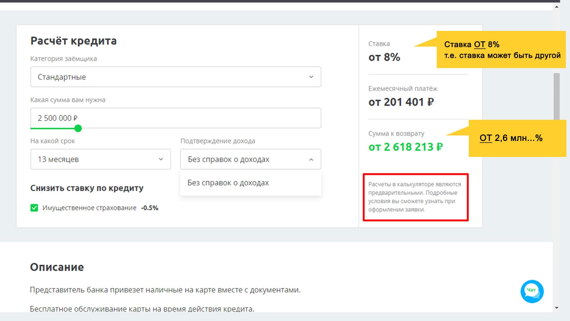 Калькуляция выплат по конкретному кредитному предложению. банка на сайте sravni.ru