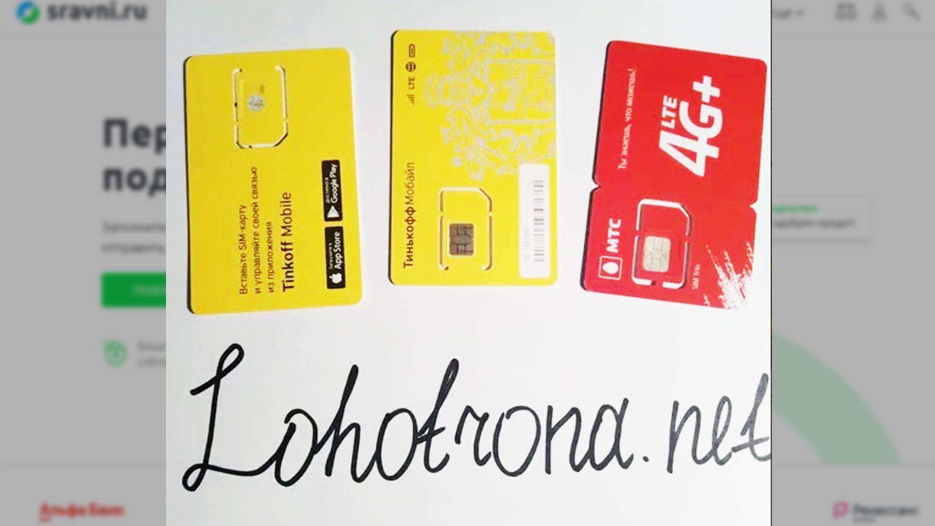 Сим-карты использованные в эксперименте на финансовом супермаркете Сравни.ру.